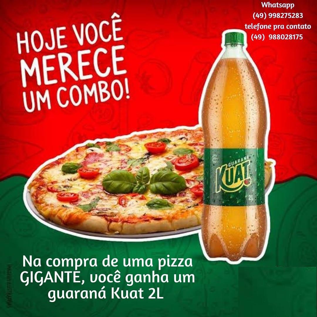 Você merece um combo! Na compra de uma Pizza Gigante você ganha um Guaraná Kuat 2L.