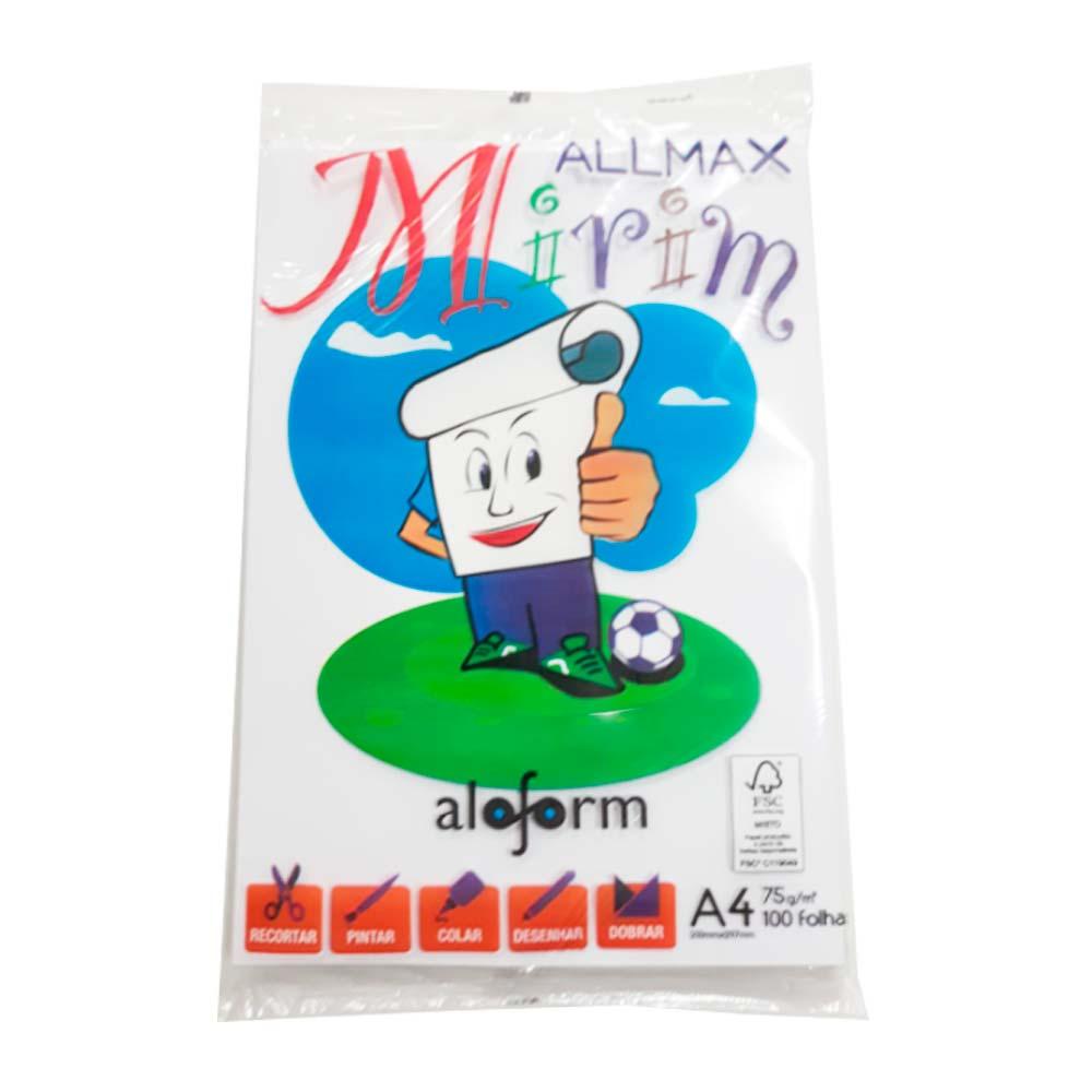 Papel A4 Branco Pacote com 100 Folhas Allmax Mirim