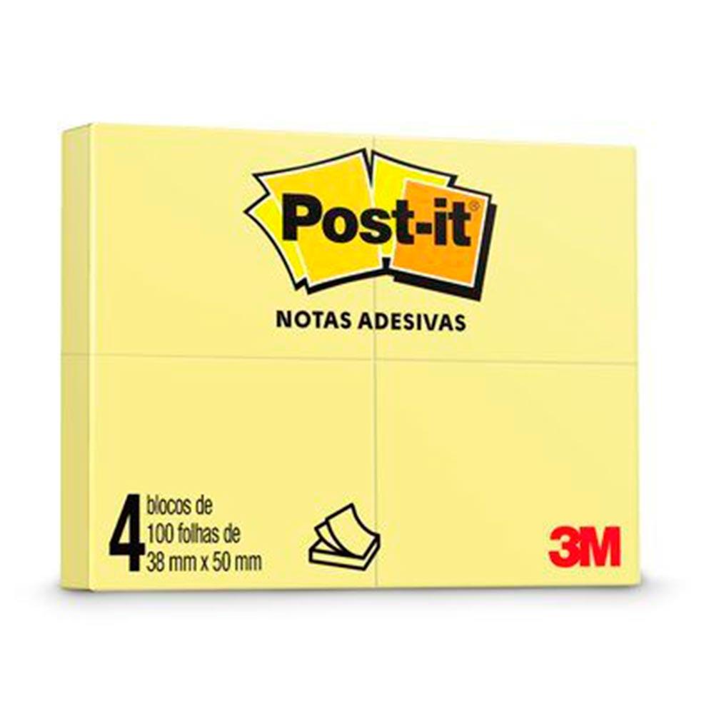 Blocos de Notas Adesivas Post-it Amarelo - Pacote c/ 4 Blocos de 38 mm x 50 mm (100 Folhas cada)