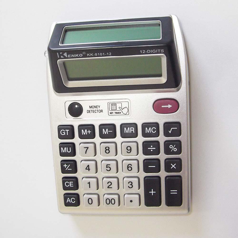 Calculadora com Detector de Nota Falsa de Dinheiro - Visor Duplo 12 Dígitos Kenko KK-8101-12